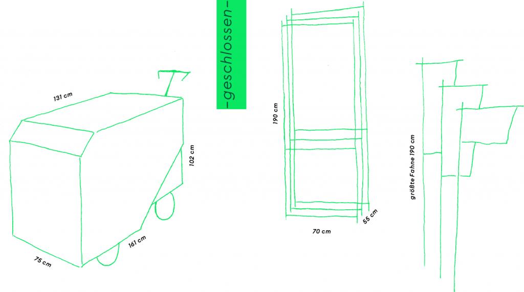"""""""gekritzelte"""", technische Zeichnung mit Maßen dran: geschlossen: 161 * 75 x102 cm"""